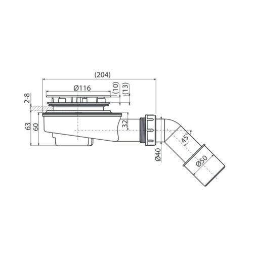 Alcaplast Ablaufgarnitur 85 mm verchromt extra flach Siphon für Duschwannen