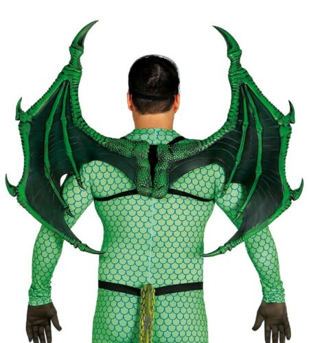 Men Ladies Extra Large Green Dragon Demon Cosplay Wings Fancy Dress Costume Prop