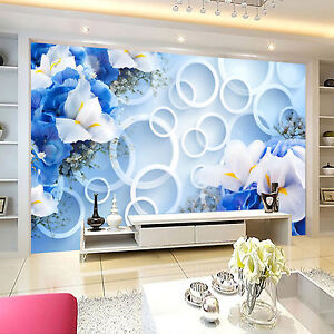 Details Sur 3d Bleu Fleur 309 Photo Papier Peint En Autocollant Murale Plafond Chambre Art