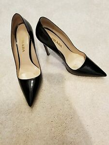735a621843 $670 PRADA BLACK PATENT LEATHER POINTED TOE PUMPS HEELS SHOES SIZE ...