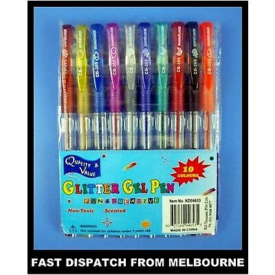 10 pack of Scented Gel Pen with Glitter Assorted Colours Craft Art AUSSIE SELLER