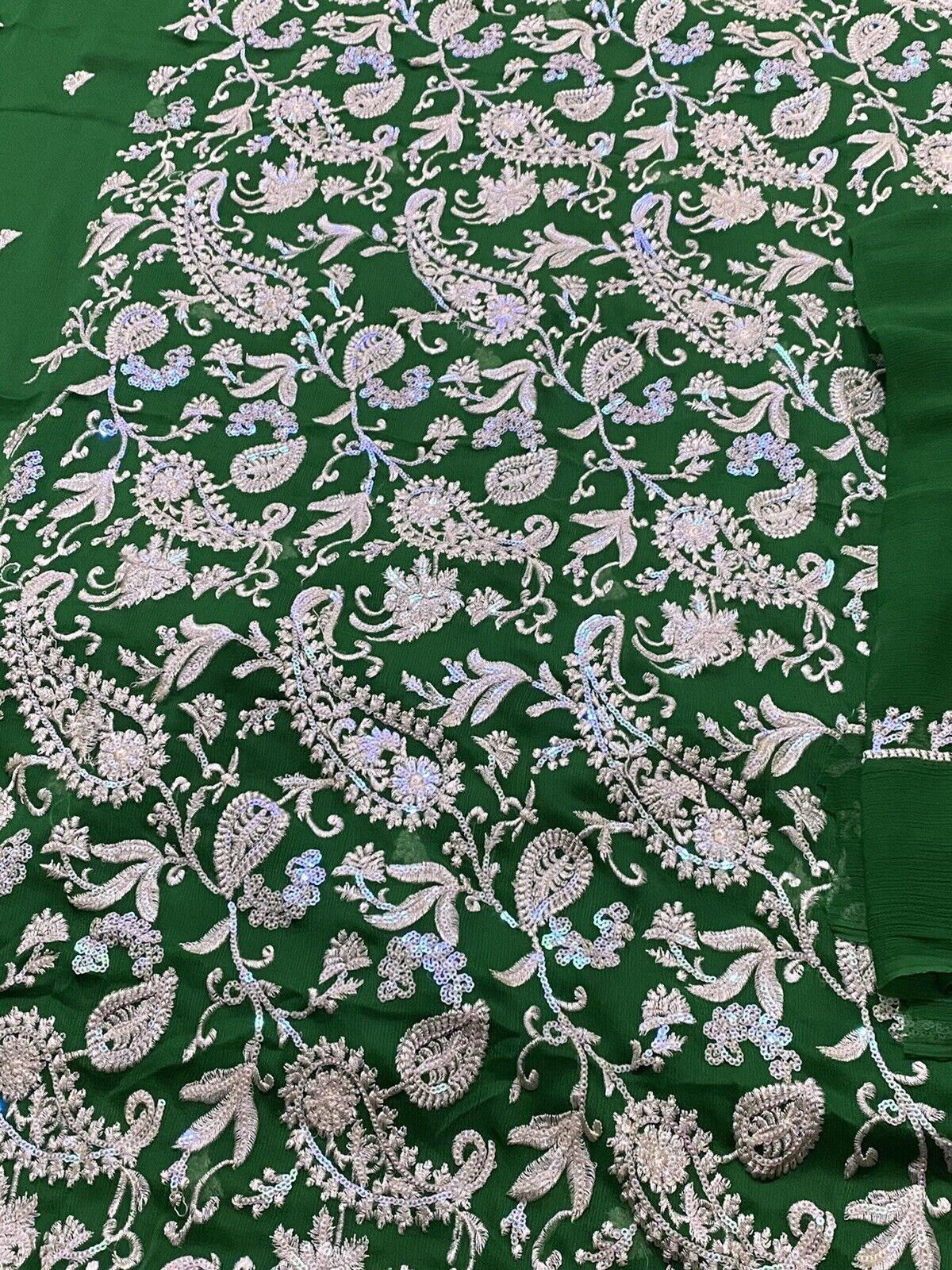 Salwar Kameez Unstitched 80% OFF SALE Green Chiffon Embroidered With Shameez