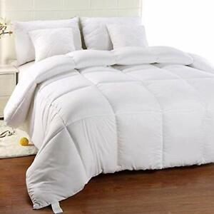 Grande Couette Chaude Epais 220x240cm Microfibre Blanc Lit Double Confort Couple Ebay