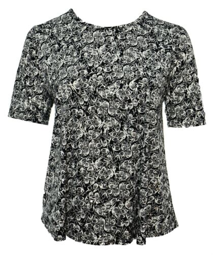 Womens New New Black White Print Shiny Silver Polka Short Sleeve Top Ladies