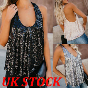 b51c13cbd229aa UK Womens Sequin Sleeveless Tank Tops Vest Ladies Party Sparkly ...