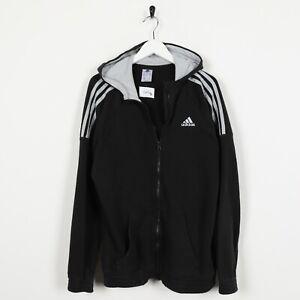 Vintage-ADIDAS-Small-Logo-Zip-Up-Hoodie-Sweatshirt-Black-Small-S