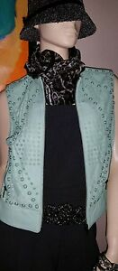 Etiquette En Vert Malandrino 8 675 Nwt Cuir Gilet Jaune Catherine Taille 6xZPP