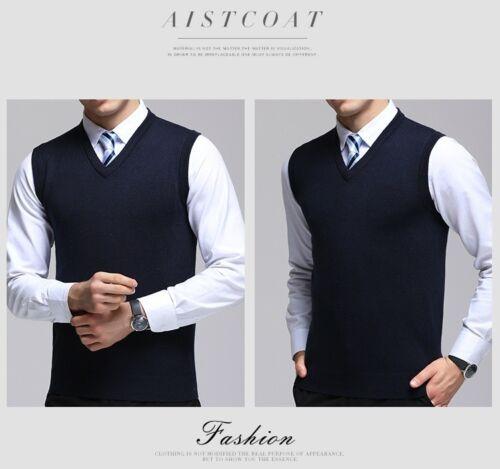 Men Sleeveless Knitted Tank Top V Neck Jumper Business Sweater Soft Plus Size