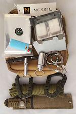 Survival Bag Knife Blanket Carabiner Saw Compass Paracord Lighter Stove NOSSIL