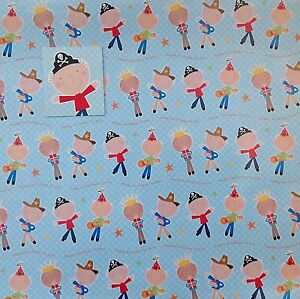 Image Is Loading 2 Sheets Wrapping Paper Amp Matching Tag PIRATE