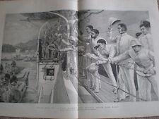 British sailors army goodbye to Japan Homeward Bound 1890 old print