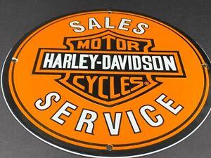 VINTAGE-HARLEY-DAVIDSON-MOTORCYCLE-DEALER-SALES-amp-SERVICE-PORCELAIN-ENAMEL-SIGN