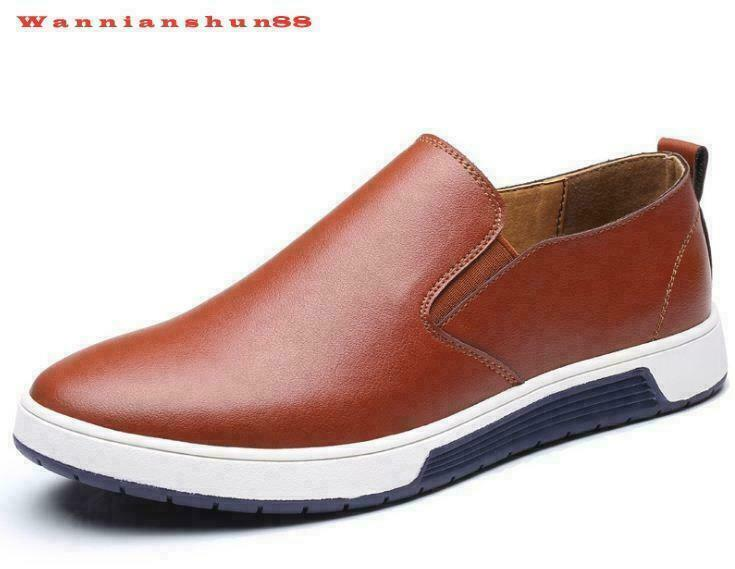 Classic Mens real leather low top slip on casual Dress shoes plus size