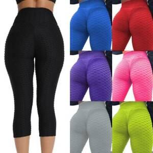 Women 3//4 Anti Cellulite Yoga Leggings Butt LIft Pants Workout Fitness Sports