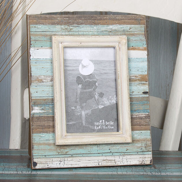 "Coastal Chic Shabby Driftwood Standing Photo Frame Medium 6'x 4"" photos"