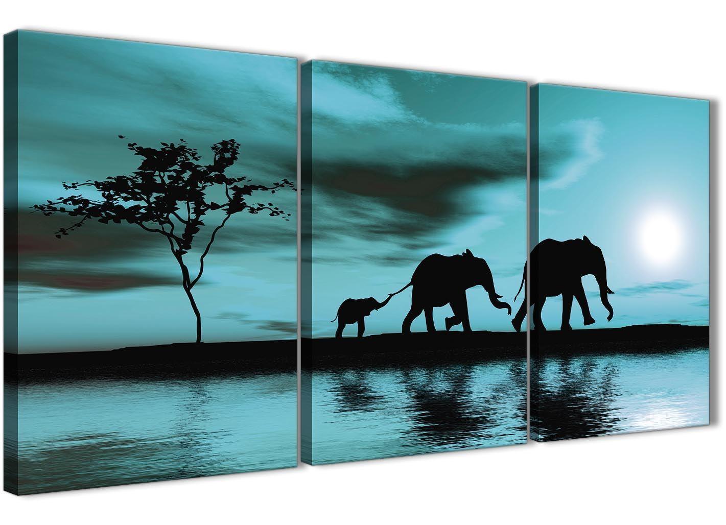 verde Acqua DELL'AFRICA TRAMONTO ELEFANTI Tela Art Print-Set di 3-larghezza 125 cm - 3362