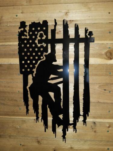 LINEMAN WITH FLAG  Metal sign  Decor Wall Art  hand made tx