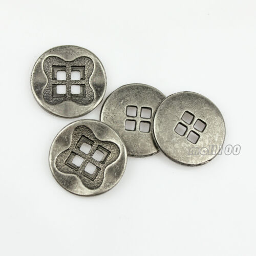 12pcs Metal Silver 4 Holes Round Craft Sewing Coat Suit Buttons 15 18 21 28mm