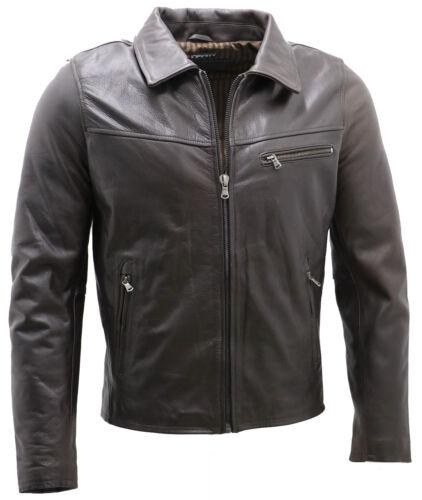 Men/'s Smart Dark Brown Leather Harrington Jacket