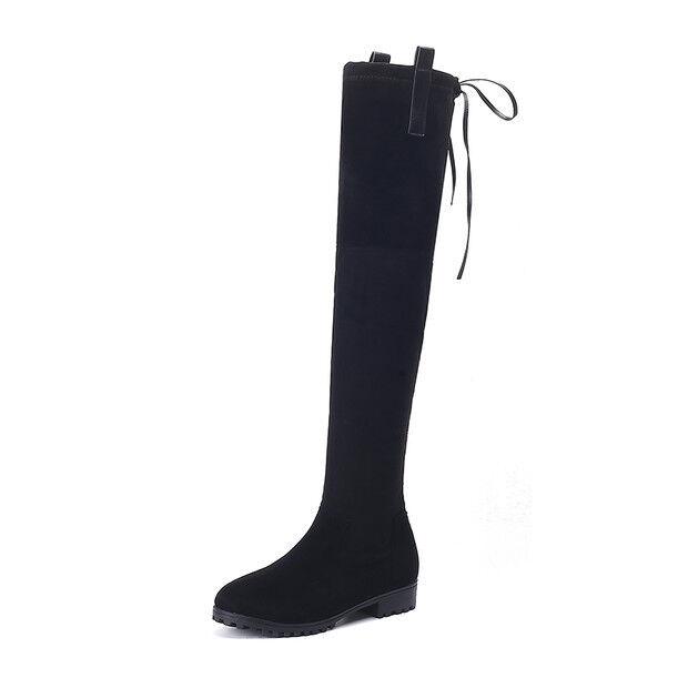 stiefel up knie 3 cm staubtücher schwarz elegant simil leder 9569