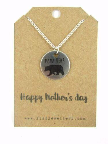 Happy Mother/'s Day Mama Bear Silver Necklace on Message Card New