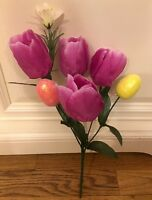 Easter Egg Tulip Bouquet Floral Pick Spray Wreath Vase Decor Ornaments Bunny