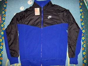 d60d1222dd Nike Jacket Mens Zip Front Fleece Nylon Running Swoosh Blue Black Sz ...