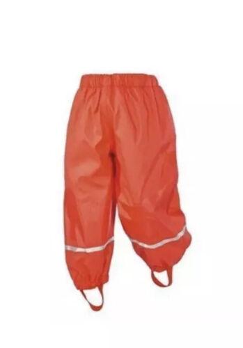 Lupilu Kids orange Waterproof Rain Trousers Age 12-24 Months Fleece Lined Bnwt