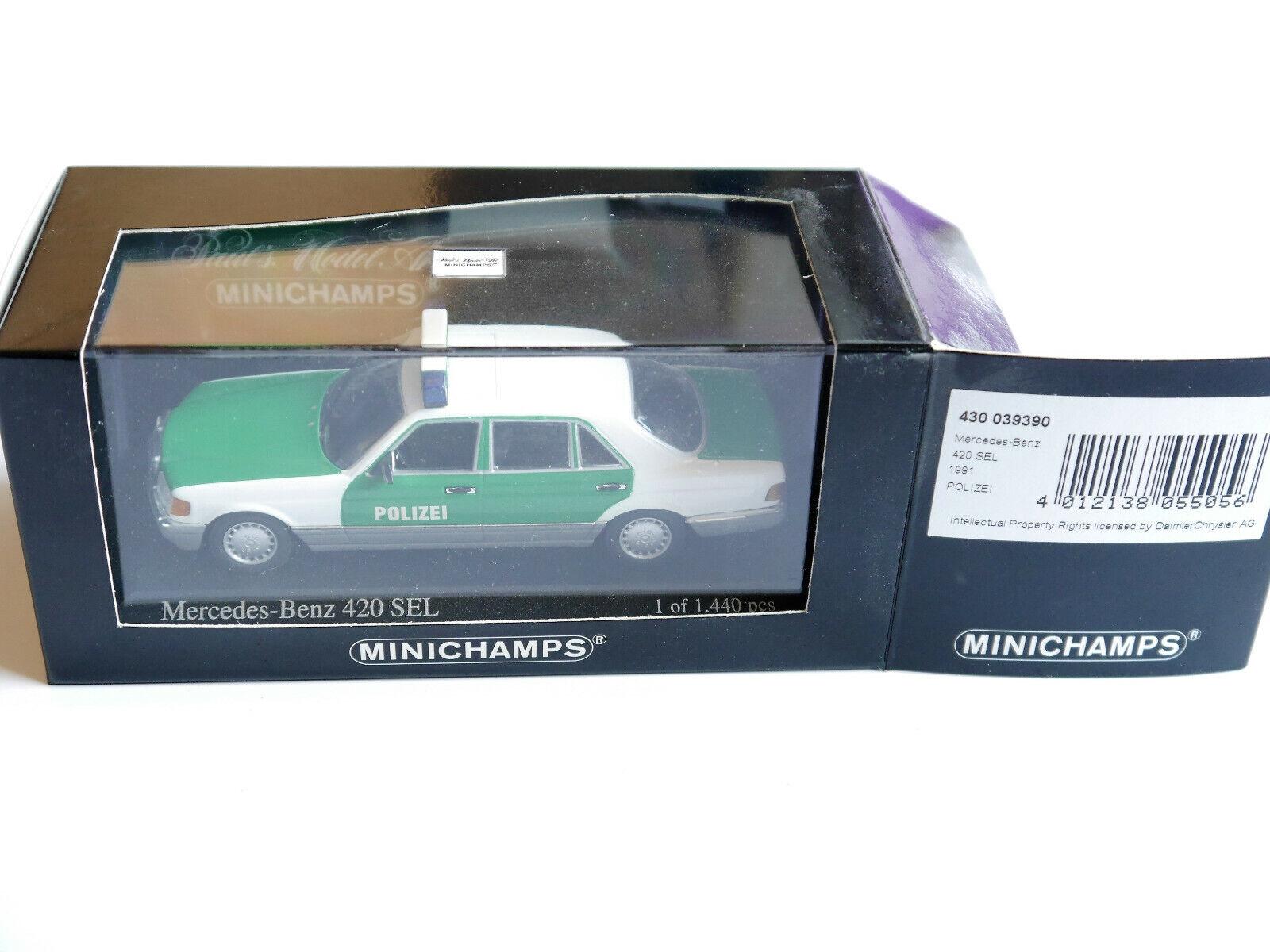 Mercedes W 126 S Classe 420 SEL 1991 Police Police Polis, Minichamps 1 43 en Boîte