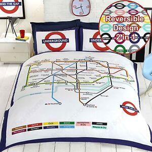 Funda Nordica Underground.London Underground Tube Map Double Duvet Cover And Pillowcase Set