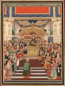 Mughal-Miniatura-Pittura-Fatto-a-Mano-Moghul-Empire-Art-Delhi-Durbar-di-Akbar-II