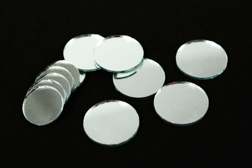 """Round Circle Silver Craft Glass Mirror Mosaic Tiles Deco Art 1/"""" 3//4/"""" Available"""