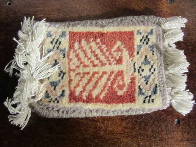 Persian Carpet/sampler. Antique Miniature. 3.6