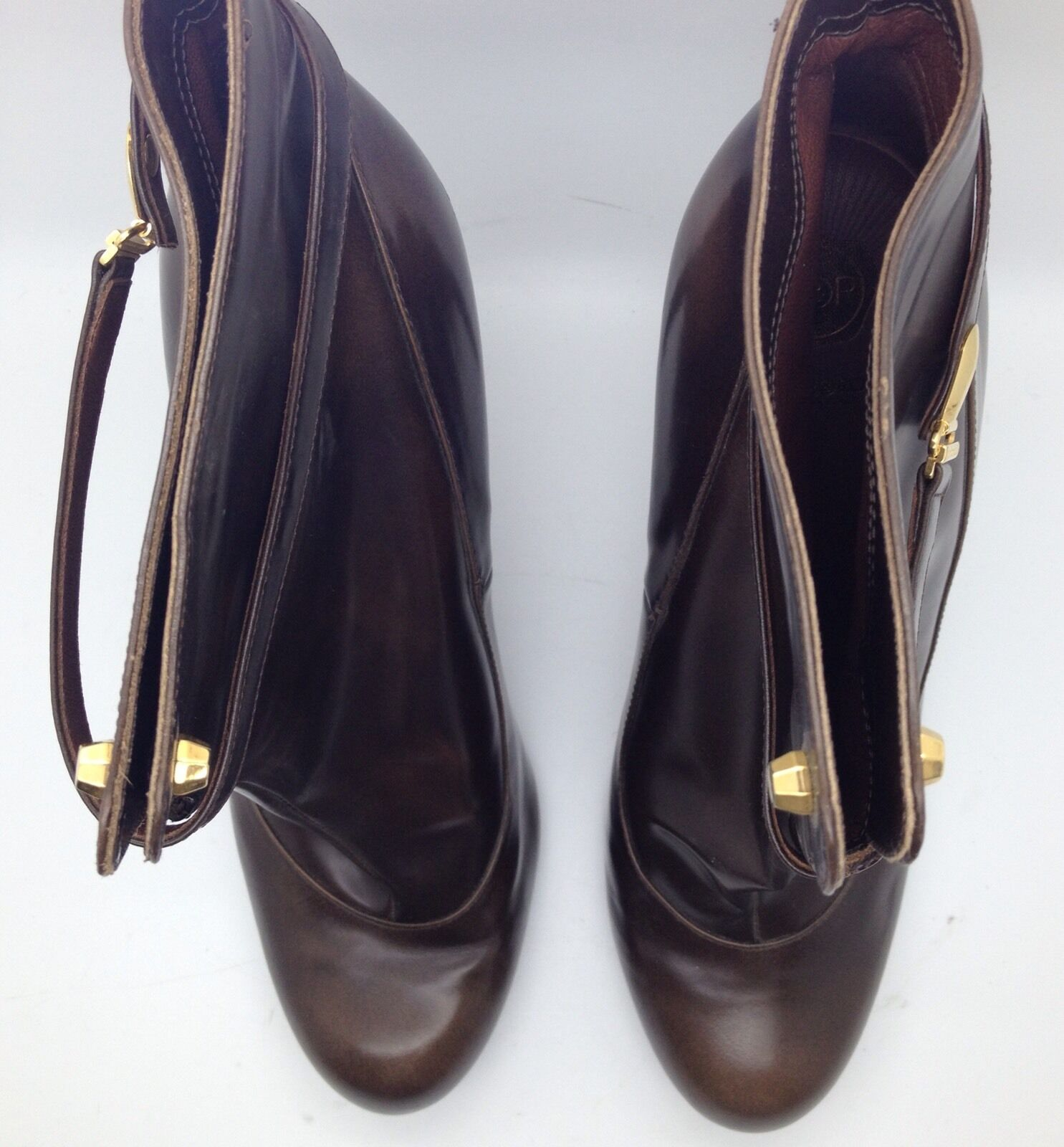 VIKTOR & & & ROLF Brown Leather High Heels Ankle Boots gold LocK Strap 9.5M 40  72cba1