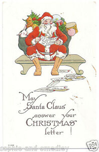 c-1910-Christmas-Postcard-Santa-Claus-Reading-List-Bag-of-Toys-Ho-Ho-Ho