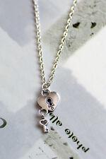 Antique Silver Love Heart Lock & Key Charm Pendant Necklace