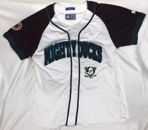 Rare-Vintage-Starter-NHL-Anaheim-Mighty-Ducks-Baseball-Jersey-Size-XL