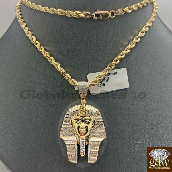 10k Gold Seil Kette Mit Anhänger, Pharao Kopf Anhänger In Verschiedene Länge