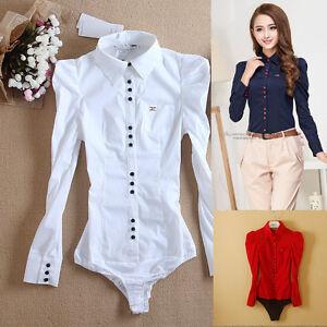 Women-039-s-Turn-down-Collar-full-sleeve-button-Office-Blouses-Bodysuit-Blusas-Shirt