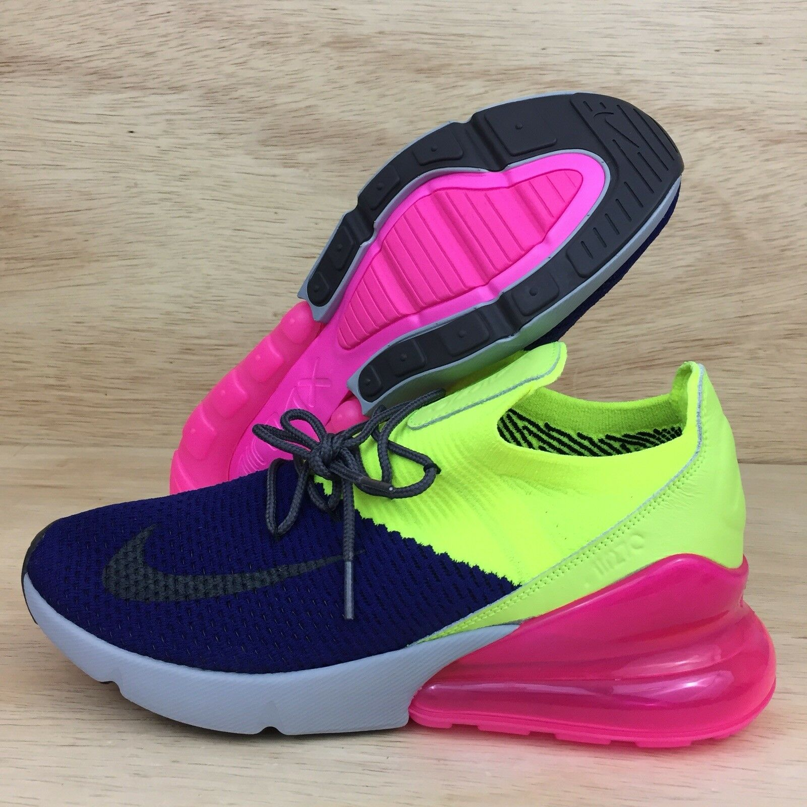 Nike Air Max 270 Flyknit Regency Purple Grey Volt AO1023-501 Men's Size 9.5 New