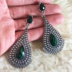 Image Is Loading Womens Vintage Antique Dark Green Gem Beads Teardrop