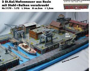Diorama-Neu-Nr-1179-Kaimauer-Hafenmauer-mit-Metallverstrebung-1-72-Resin