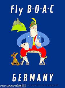 Germany German Dachshund Dog Airplane Vintage Travel Advertisement Art Poster