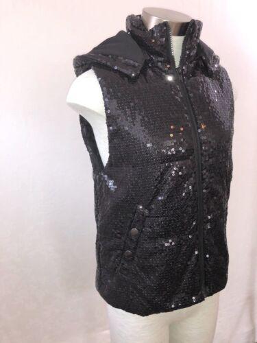 Betsey et Petit Moyen capuche à noirs Johnson Nwt zippé Taille sequins Gilet dxvnZYfUq