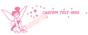 CUSTOM Tinkerbell Name Text Window Glass Vinyl Decal Sticker