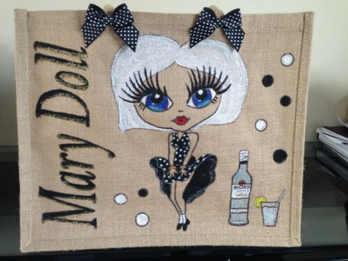 PERSONALISED LARGE HAND PAINTED JUTE BAGS GIFT16TH 18TH 21ST 30TH 40TH BEACH