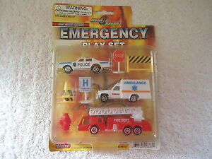 Mega-Racer-Die-Cast-Metal-Emergency-Play-Set-034-NIP-034-GREAT-SET-034