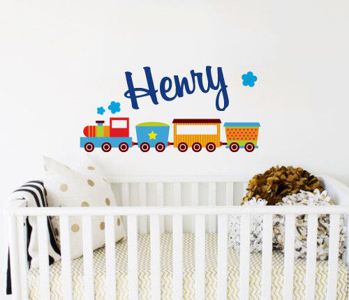 Custom Name Colourful Train Wall Sticker Bedroom Hipster Cool Kids .