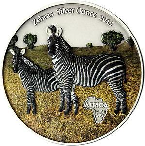 ZEBRAS SILVER OUNCE 2015 Congo 1000 Francs antique finish 1 Oz Coloured Coin