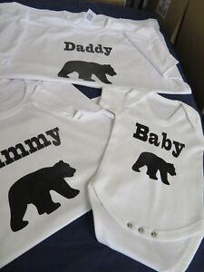 a61f0809 Image is loading Mummy-Daddy-Baby-Bear-T-shirt-set-of-
